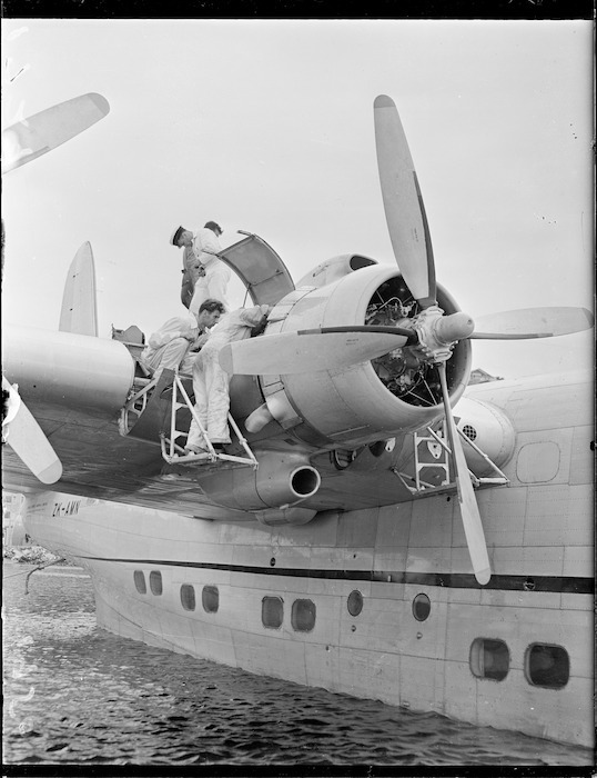 Repairs to flying boat Awatere at Evans Bay