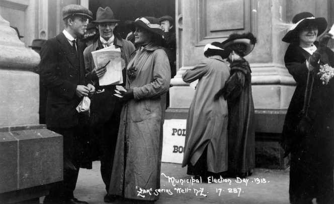 People outside a polling booth during a Wellington municipal election