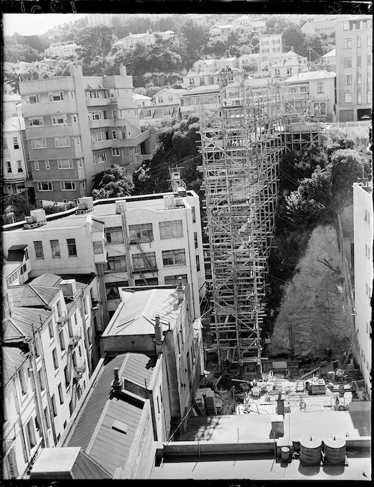 Construction of a substation, The Terrace, Wellington