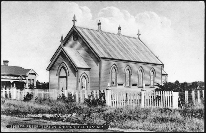 [Postcard]. Presbyterian Church, Eltham, N.Z. 3988 P.C.. M.A.W. series, printed in Saxony [ca 1904-1914]