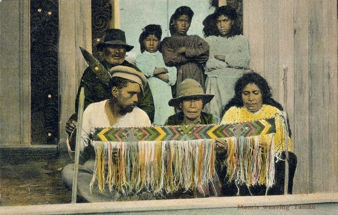 [Postcard]. Maoris weaving taniko. Copyright T. Pringle, Wellington, NZ [ca 1904].