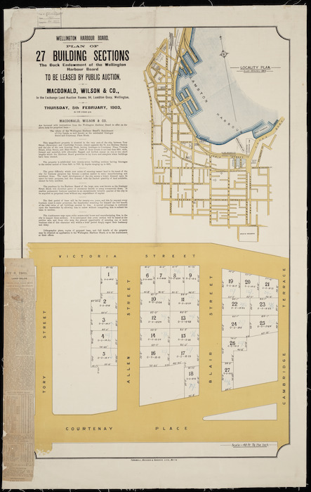 Wellington Harbour Board plan of 27 building sections [cartographic material] : the Dock Endowment of the  Wellington Harbour board.