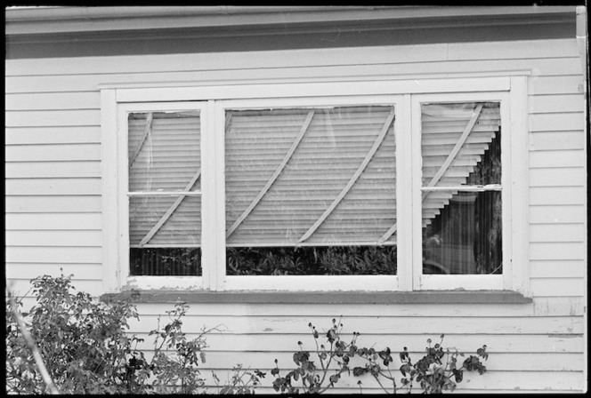 Venetian blinds moved out of place by Edgecumbe earthquake - Photograph taken by John Nicholson