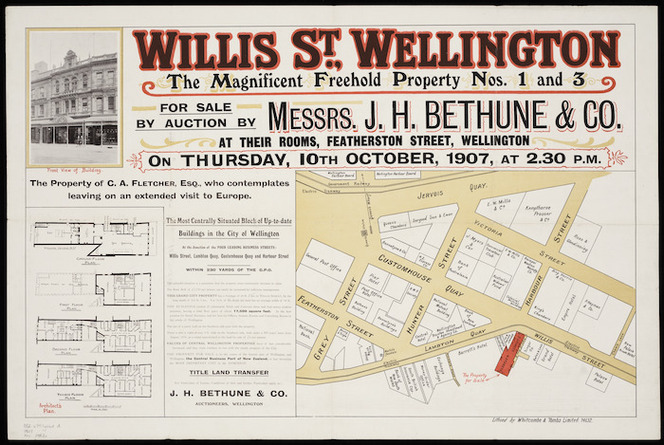 Willis St., Wellington [cartographic material] : the magnificent freehold property nos. 1 and 3.
