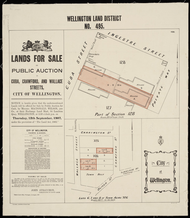 Wellington Land District no. 495, part of section 128 [cartographic material] : lands for sale in Cuba, Crawford and Wallace Streets, city of Wellington.