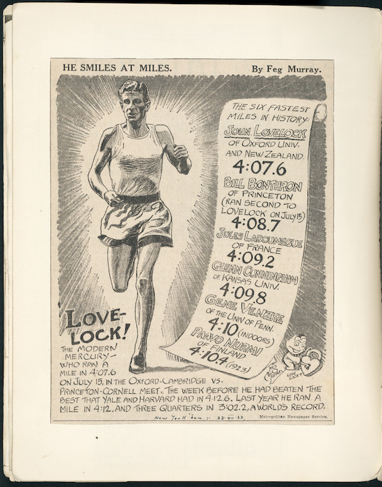 Cartoon of Jack Lovelock after he broke the world mile record