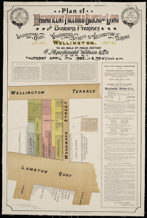 Plan of magnificent freehold blocks of land and business premises, Lambton Quay, Woodward Street & Wellington Terrace [cartographic material] / E.W. Seaton, surveyor.