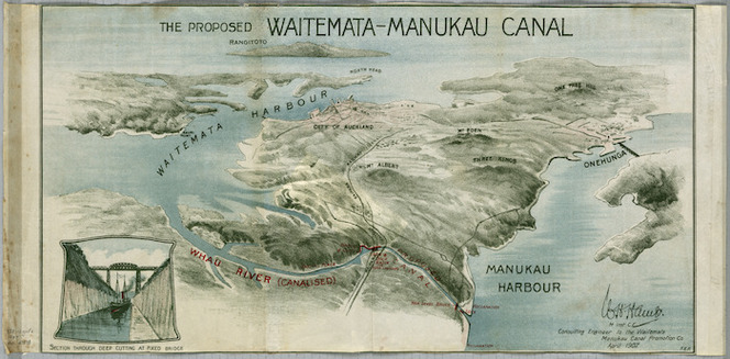 The proposed Waitemata-Manukau canal [cartographic material] / W.H. Hamer, consulting engineer to the Waitemata Manukau Canal Promotion Co.