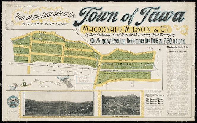 Plan of the first sale of the town of Tawa ... 1906 [cartographic material] / Seaton & Sladden, surveyors.