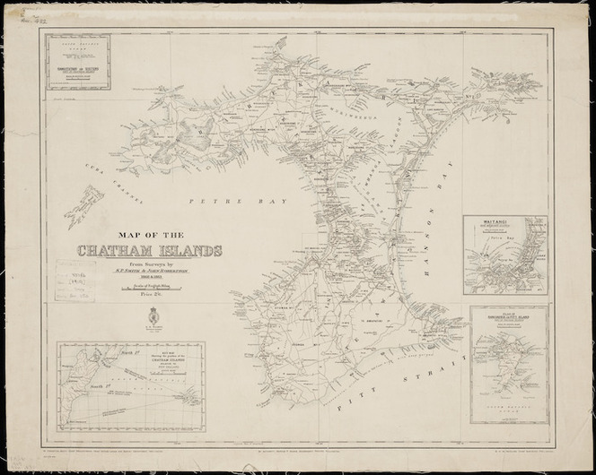 Map of the Chatham Islands [cartographic material] / from surveys by S.P. Smith & John Robertson, 1868 & 1883.