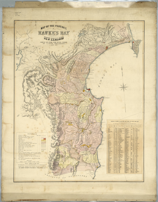 Map of the province of Hawke's Bay, New Zealand [cartographic material] / compiled and drawn from official sources by A. Koch.