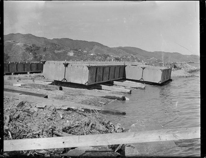 TEAL flying boat pontoon on builder's slipway at Gracefield, Lower Hutt, Wellington