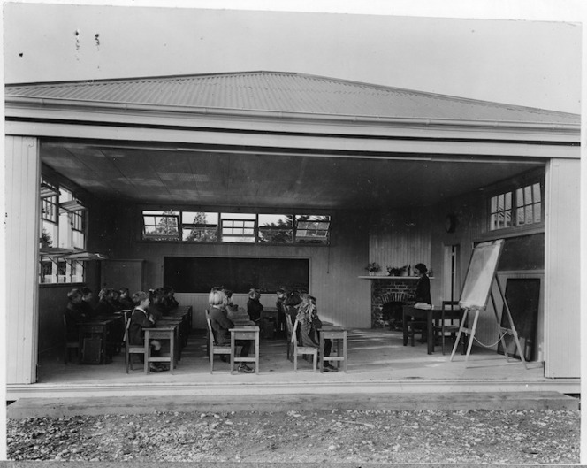 Creator unknown : Photograph of an open air classroom, Fendalton School, Christchurch