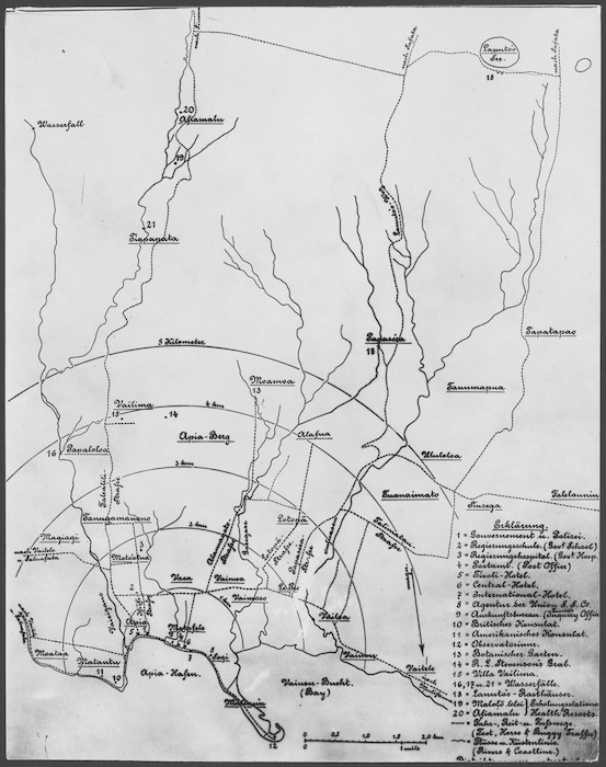 German map of Apia and district, Samoa