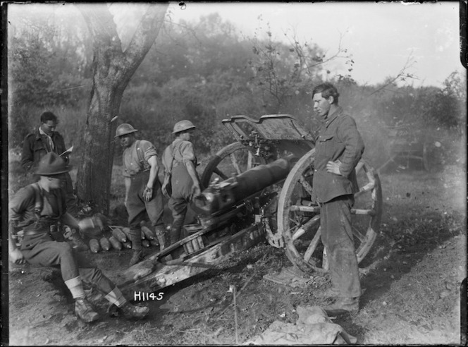 New Zealand forward Howitzer in action near Le Quesnoy, France, during World War I