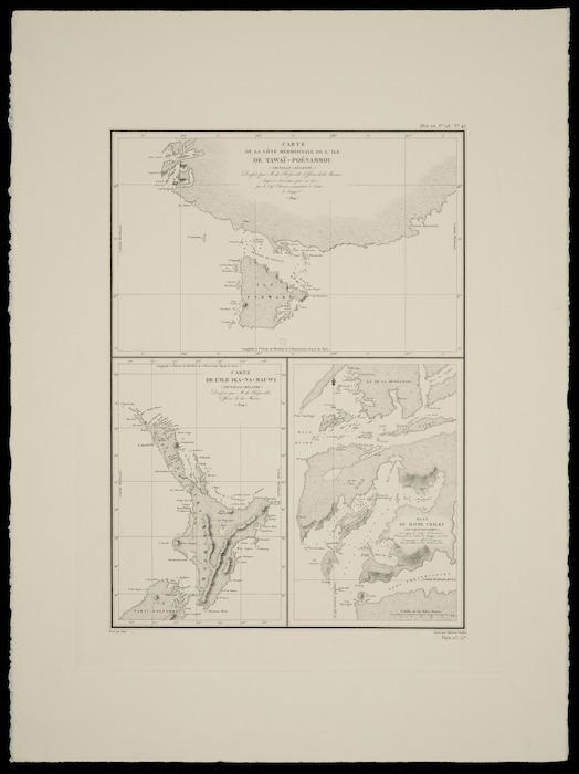 Carte de la côte méridionale de L'ile de Tawaï - Poénammou (Nouvelle Zélande) [cartographic material] : Carte de L'ile Ika-Na-Mauwi (Nouvelle Zélande) : Plan du havre Chalky (Ile Tawaï - Poénammou) / dressée par M. de Blosseville, Officier de la Marine, d'après les observations faites en 1823,  par le Cap. Edwarson, commandant le cutter le Snapper (1824).
