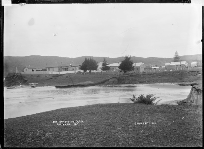 Boat Bay, Opoturu River, Raglan Harbour, 1910 - Photograph taken by Gilmour Brothers