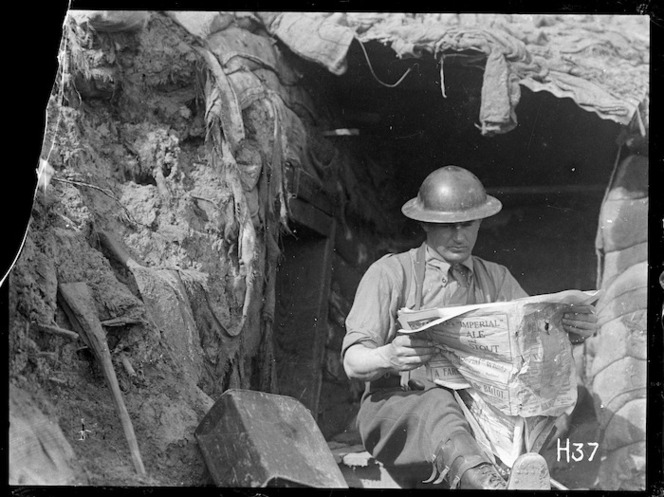 News from home in the front line trenches, World War I
