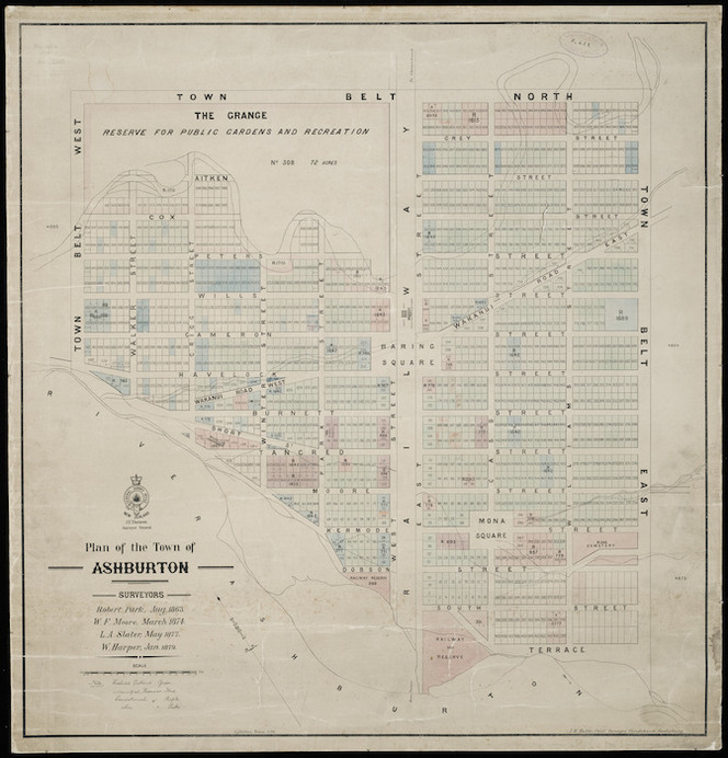 Plan of the town of Ashburton [cartographic material] / Surveyors: Robert Park Aug. 1863 ; W.F. Moore March 1874, L.A. Slater May 1977, W. Harper, Jan. 1879.