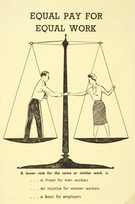 Council for Equal Pay and Opportunity: Equal pay for equal work. A lower rate for the same or similar work is ... a threat for men workers ... an injustice for women workers ... a boon for employers. 1961.
