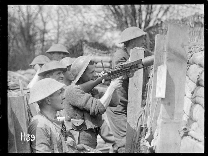 A Lewis gun in the front line, World War I