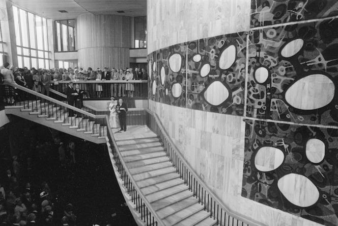Beehive interior, Parliament Buildings, Wellington, with tapestries by Guy Ngan, during the opening of Parliament by Her Majesty Queen Elizabeth II
