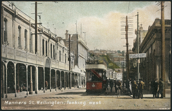 [Postcard]. Manners St[reet], Wellington, looking west. 4366A. New Zealand post card (carte postale), printed in Britain. F.T. series no 2616. [ca 1904-1914].