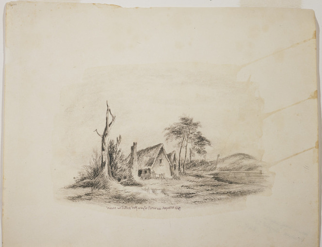[King, Martha] 1803?-1897 :House [where] we halted halfway to Pororua August 28, 1849