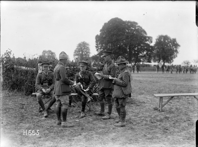 Officers in the ring at the New Zealand Divisional horse show, Courcelles