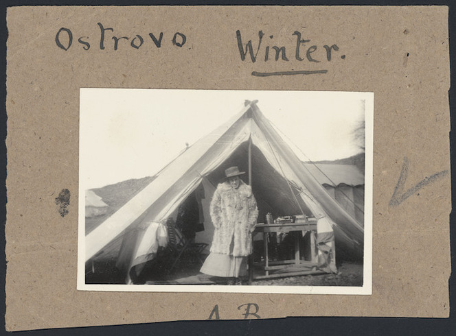 Agnes Bennett at the main hospital camp of the 7th Medical Unit of the Scottish Women's Hospitals for Foreign Service, at Ostrovo, Macedonia, Serbia, during World War I. Bennett, Agnes Elizabeth Lloyd, 1872-1960: Photographs. Ref: PAColl-6972-12-23