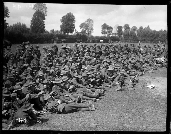 Spectators at the New Zealand Division boxing championships in France during World War I