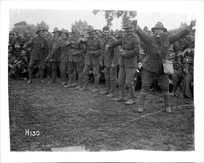 Maori soldiers give haka at the New Zealand Division boxing championships in Doulieu, France during World War I