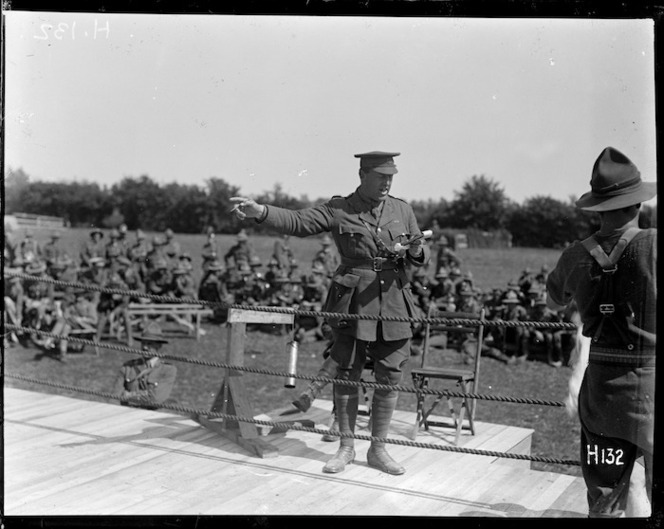 Colonel Plugge at the New Zealand Division boxing championships held in France, World War I