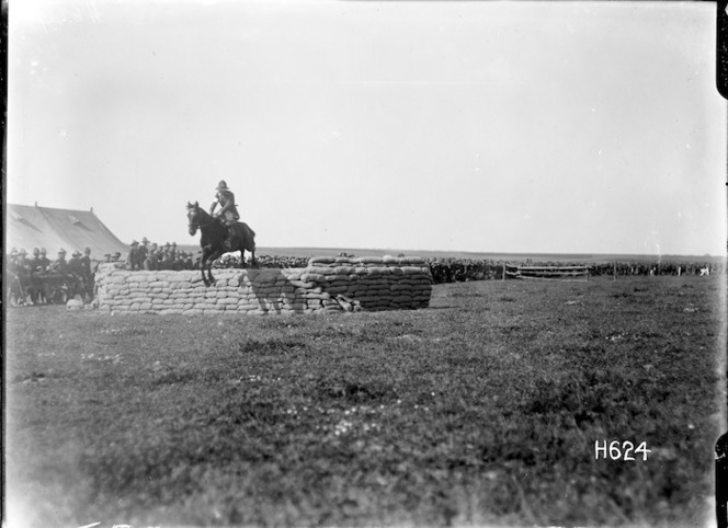 A horse jumping at the New Zealand Infantry Brigade horse show, France