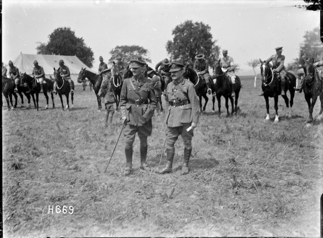 Officers in the ring at the New Zealand Divisional horse show, France