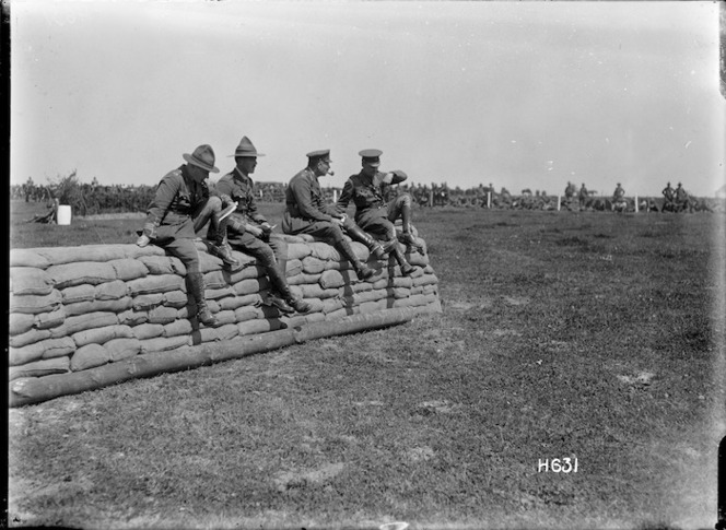 Officers watching events at the New Zealand Infantry Brigade horse show, France