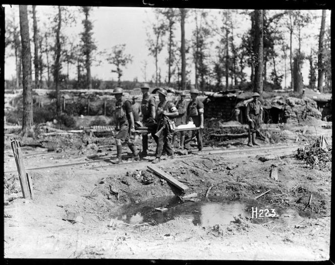 Stretcher bearers at work in Ploegsteert Wood, World War I