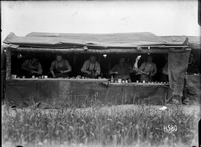 A cobblers shop near the front line, France