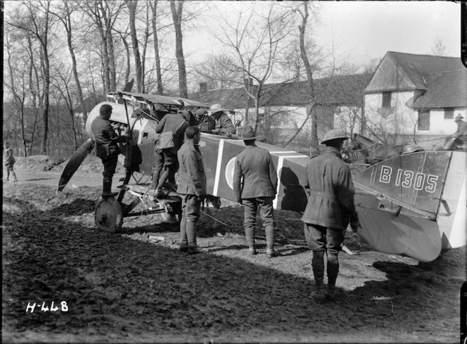 Members of the Pioneer Battalion inspect a downed Bristol fighter F2B during World War I