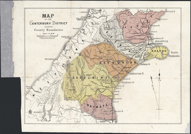 Map of the Canterbury District shewing county boundaries [cartographic material].