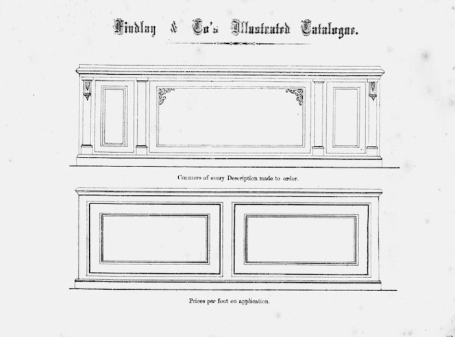 Findlay & Co. :Findlay and Co's illustrated catalogue. Counters of every description made to order. Prices per foot on application. [1874]