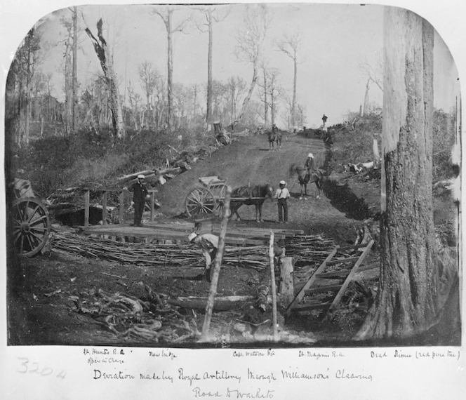 Deviation on the road to Waikato, made by the Royal Artillery, through Williamson's Clearing