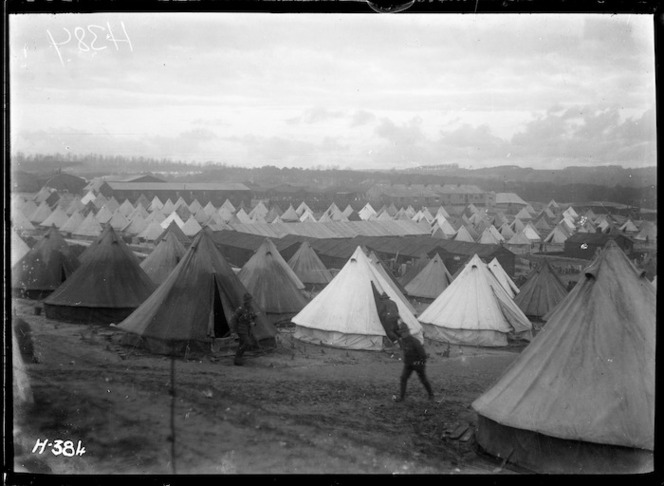 Sunset over tents at the WWI NZ reinforcement camp, Etaples, France. Royal New Zealand Returned and Services' Association :New Zealand official negatives, World War 1914-1918. Ref: 1/2-013018-G. Alexander Turnbull Library, Wellington, New Zealand. /records/22722937