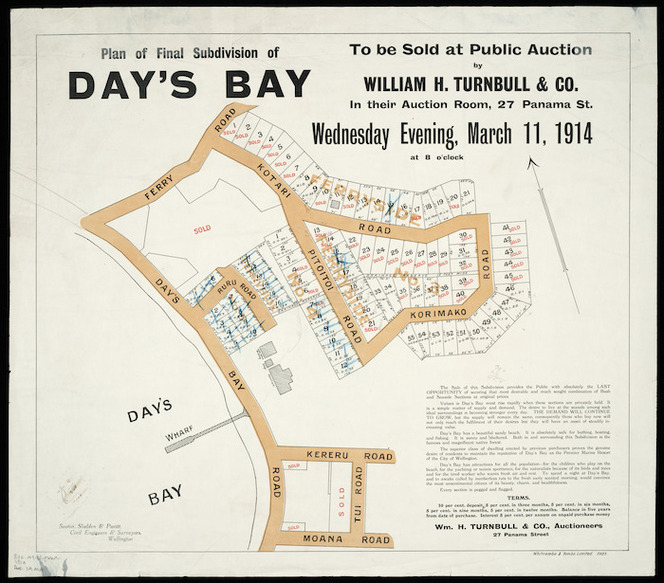 Plan of final subdivision of Day's Bay [cartographic material] : to be sold at public auction by William H. Turnbull & Co. in their auction room, 27 Panama St., Wednesday evening, March 11, 1914 at 8 o'clock / Seaton, Sladden & Pavitt, civil engineers & surveyors.