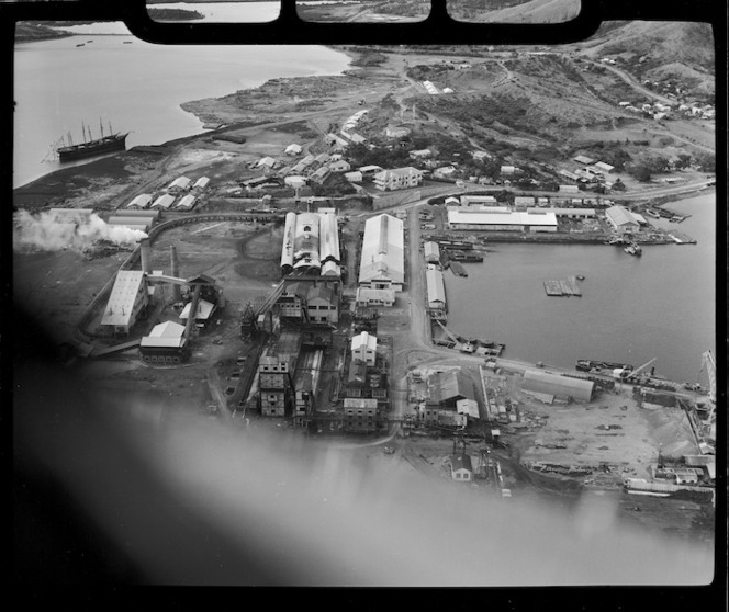 Aerial view of industrial buildings, Doniambo, Noumea, New Caledonia