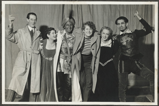 Members of the cast of the Canterbury University College Drama Society production of Hamlet in 1943. Marsh, Ngaio : Photographs of theatrical productions. Ref: PA1-q-173-73-2