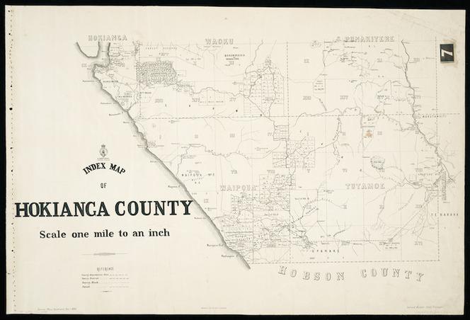 Index map of Hokianga County [cartographic material] / Gerhard Mueller, Chief Surveyor.