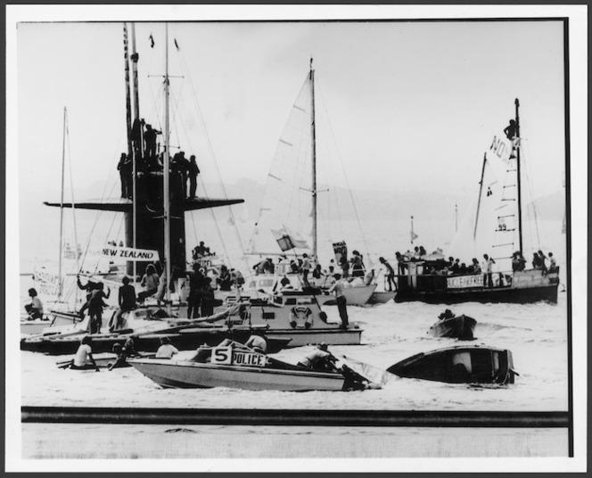 Auckland protest against submarine USS Haddo, New Zealand