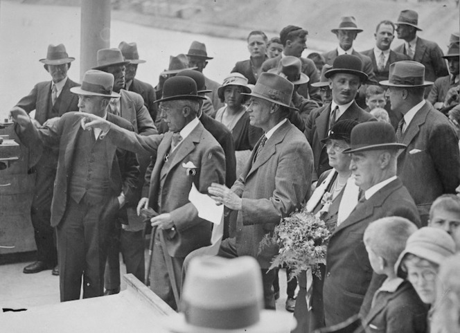 Distinguished guests at the opening of the Lake Waitaki hydro-electric power station - Photograph taken by Green and Hahn