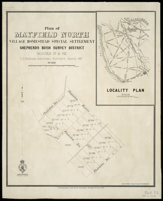 Plan of Mayfield North village homestead special settlement, Shepherd's Bush  survey district, Blocks IV & VIII [cartographic material] / L.O. Mathias, assistant surveyor, March 1887.